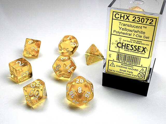 16mm 7 Die Dice Polyhedral Set - Translucent Yellow with White RPG Tabletop