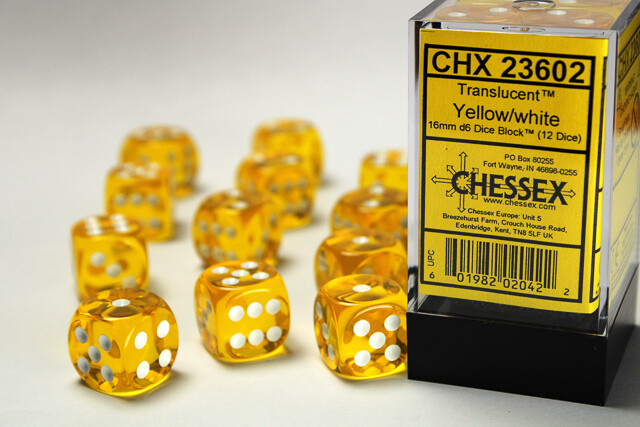Chessex 16mm 12D6 Block - Yellow with White Dice Set Tabletop Gaming RPG