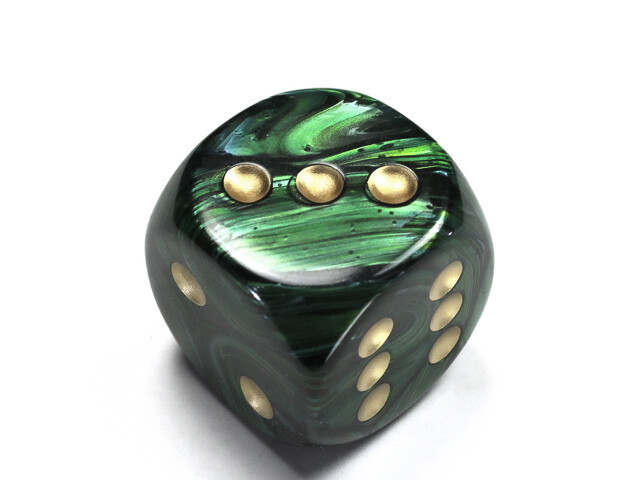 Jumbo 30mm D6 Scarab Jade Gold Dice Extra Large RPG Tabletop Roleplay CCG Board
