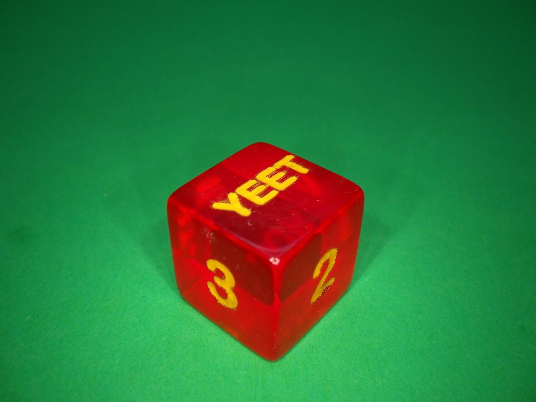 Yeet Fuck Custom D6 Die 16mm Gaming Tabletop RPG Dice Roleplay CCG Board Cards Games Token Counter Marker Board Random Roll Decision Maker