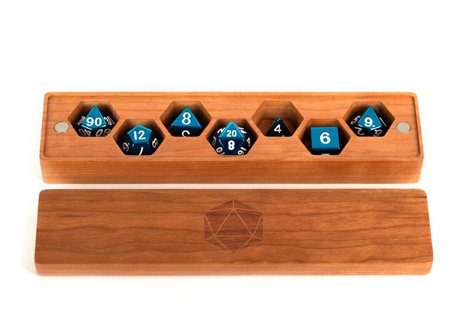 Premium Wood Dice Vault Case Polyhedral Gaming Dice RPG Role Play - Cherry