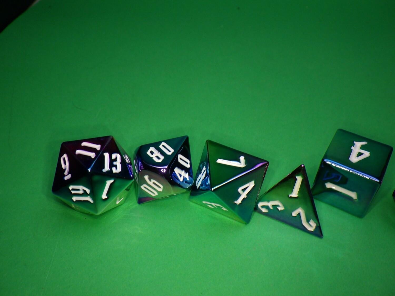Rainbow Aegis Inked 16mm Aluminum Plated Acrylic Poly Dice Set Tabletop RPG