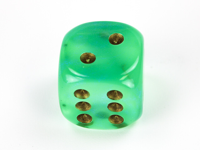 Large 20mm D6 Borealis Light Green Gold Die RPG Tabletop Dice Roleplay Game