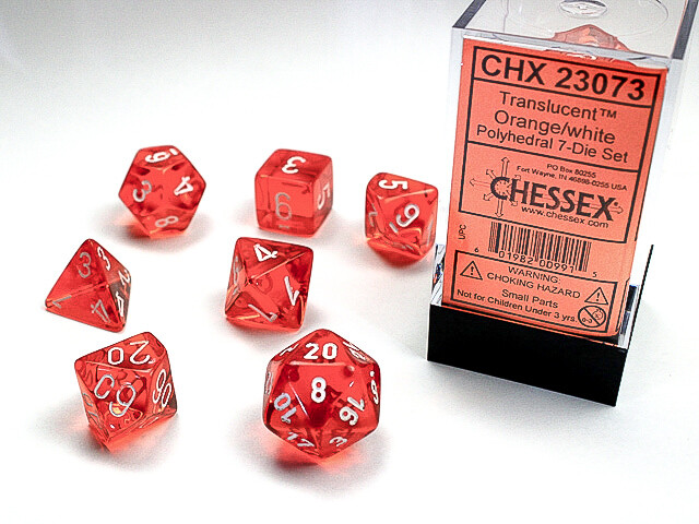 16mm 7 Die Dice Polyhedral Set - Translucent Orange with White RPG Tabletop CCG Board Card Counters Tokens Markers Random Decision Makers