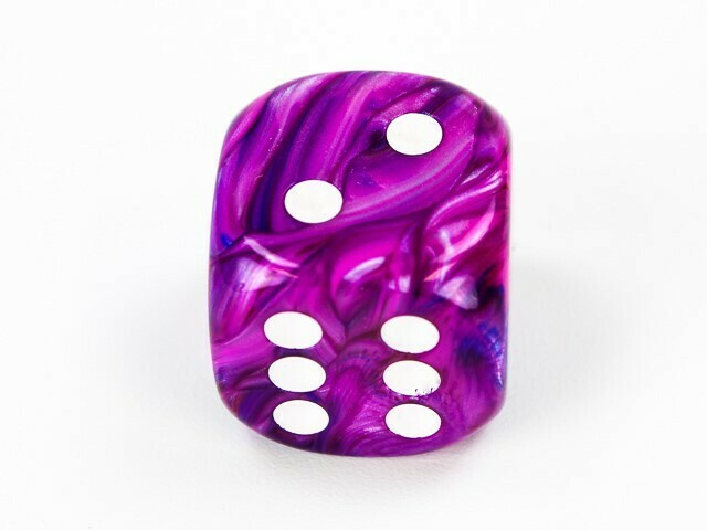 Large 20mm D6 Festive Violet White Die RPG Tabletop Dice Roleplay Game BY EACH - Black light Reflective