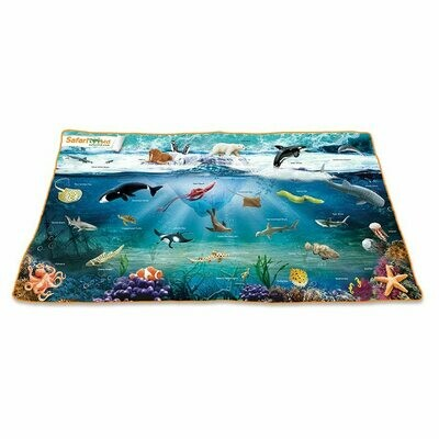46.06 W x 24.41 H Inch Ocean Playmat Toys Games Kids Gaming Cards Sharks Octopus