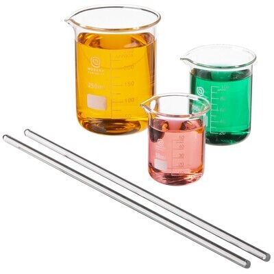 3-Pack Glass Beakers With Stirring Rods, 50-250mL - Education RPG Prop Theater
