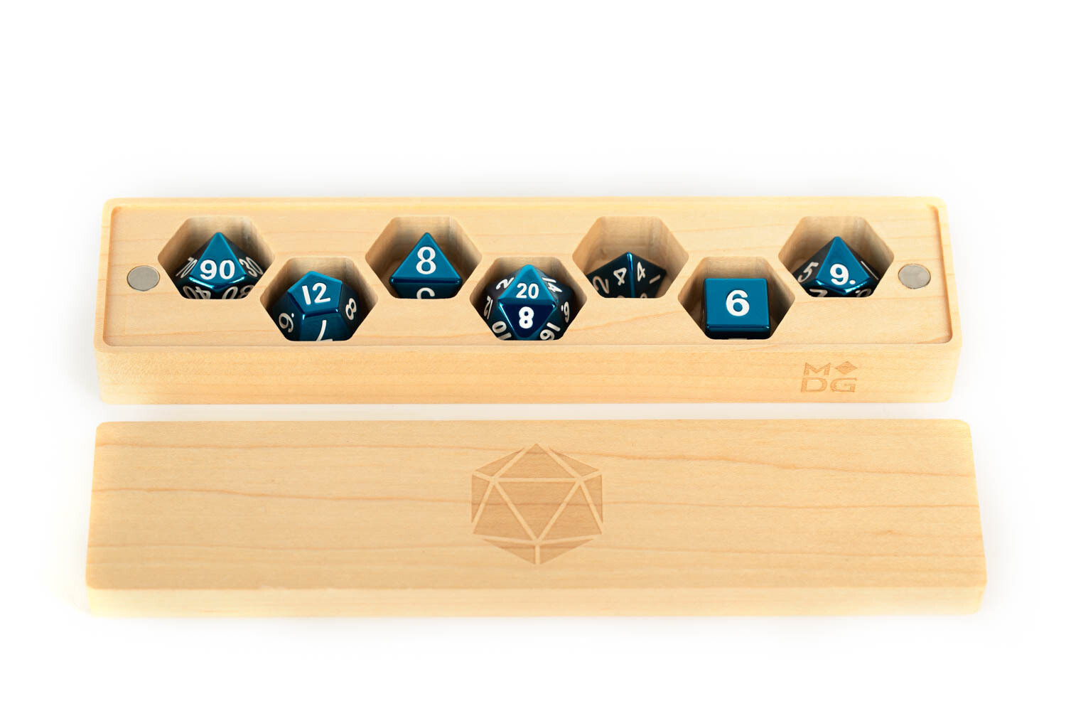 Premium Wood Dice Vault Case Polyhedral Gaming Dice RPG Role Play - Maple