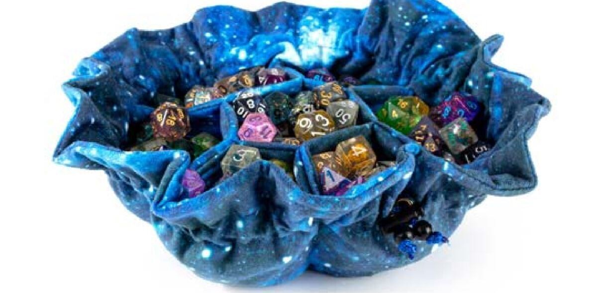 Velvet Dice Bag with Pockets - Galaxy - Holds 150+ RPG Tabletop Roleplay Games