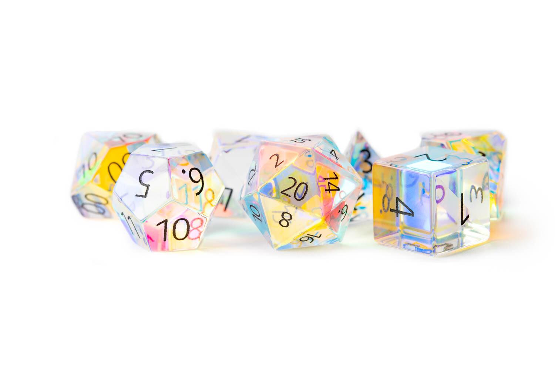 Engraved Rainbow Prism Glass Full-Sized 16mm 7 Die Polyhedral Dice Set RPG Games