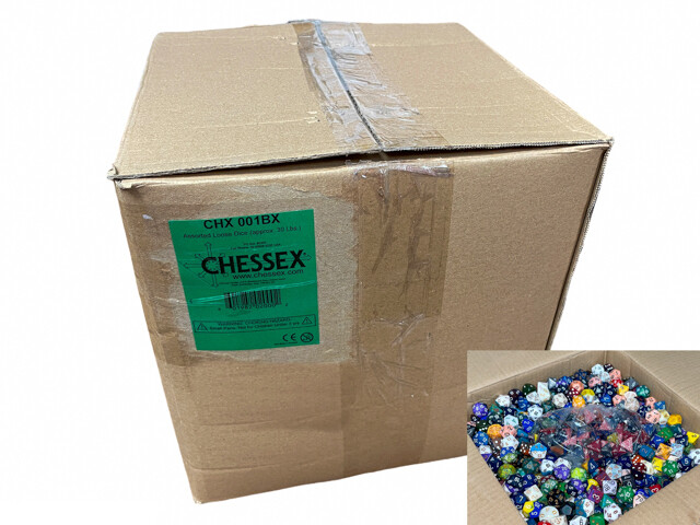 Assorted Loose Chessex Dice (approx 30 Lbs) approximately 2500 - 3000 dice