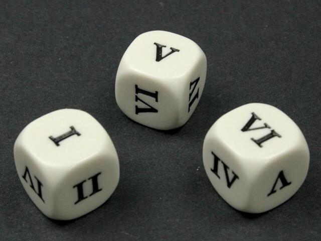 Roman Numbers 16mm D6 Die White with Black RPG Tabletop Roleplay Games CCG