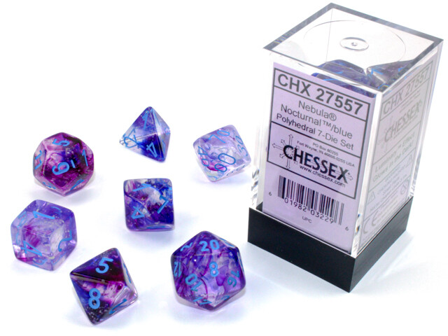 7 Die Chessex Polyhedral Dice Set -  Nocturnal Blue Luminary RPG Tabletop Games