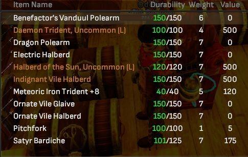 Polearm Lot (11 Items) - Shroud of the Avatar