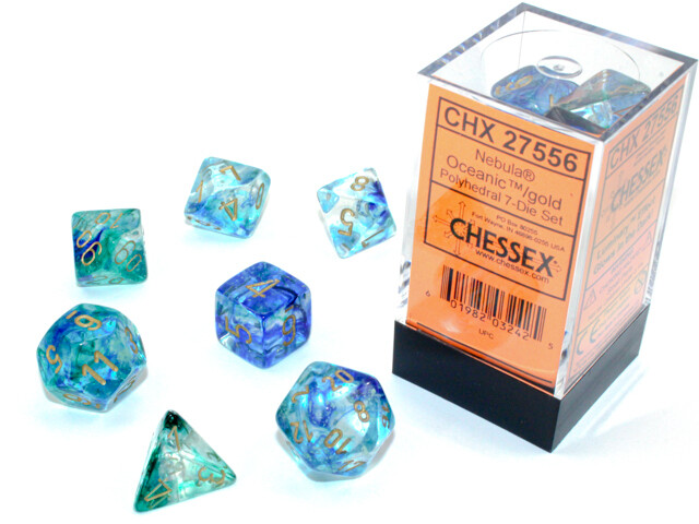 7 Die Chessex Polyhedral Dice Set -  Oceanic Gold Luminary RPG Tabletop Games