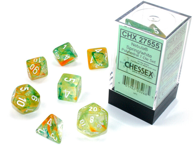 7 Die Chessex Polyhedral Dice Set -  Spring White Luminary RPG Tabletop Games