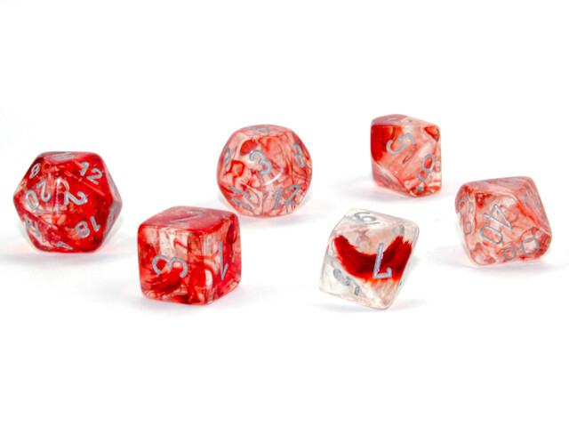 7 Die Chessex Polyhedral Dice Set -  Red Silver Luminary RPG Tabletop Games