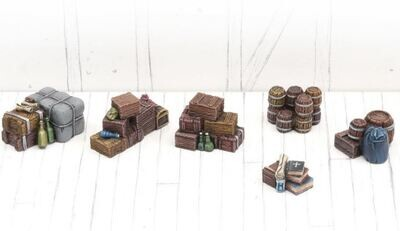 Stacked Boxes And Barrels - Set 2 (6) Models Miniatures Figures RPG Tabletop Roleplay Games