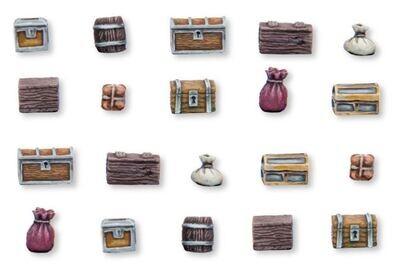 Boxes and Barrels - Set 2 (20) Models Miniatures Figures RPG Tabletop Roleplay Games