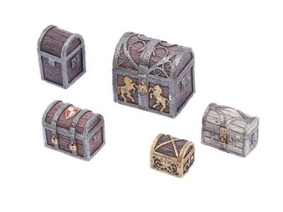 Travel Chests And Boxes - Set 1 (5) Models Miniatures Figures RPG Tabletop Roleplay Games