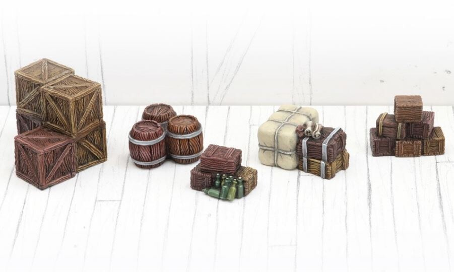 Stacked Boxes And Barrels - Set 1 (5) Models Miniatures Figures RPG Tabletop Roleplay Games