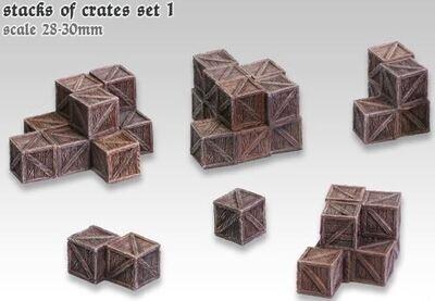 Stacks Of Crates - Set 1 (6) Models Miniatures Figures RPG Tabletop Roleplay Games
