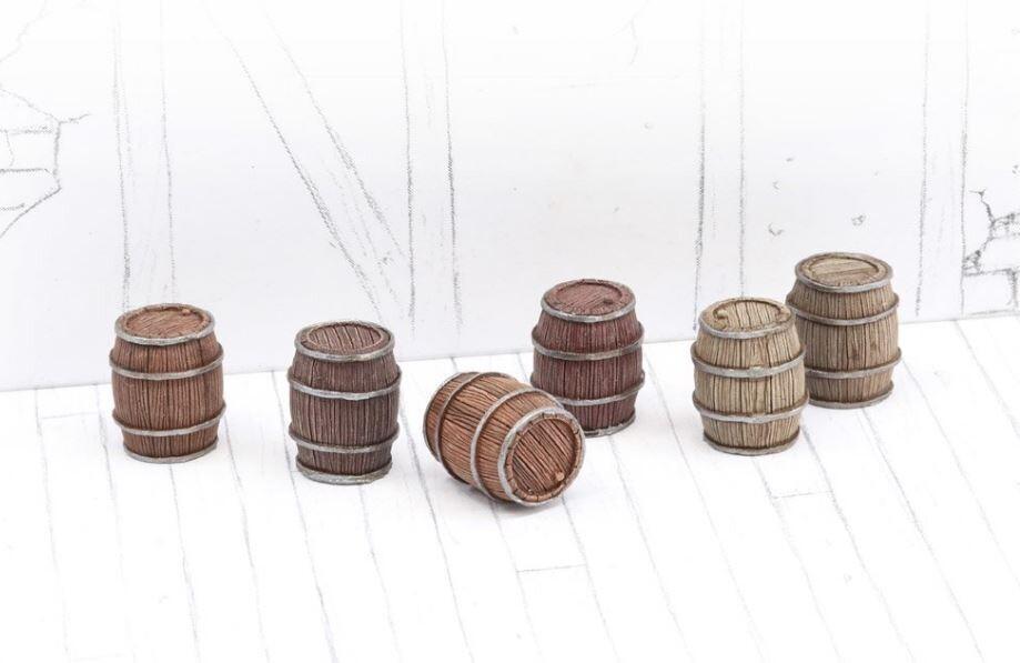 Wooden Barrels Set 1 - Small Barrels (6) Models Miniatures Figures RPG Tabletop Roleplay Games
