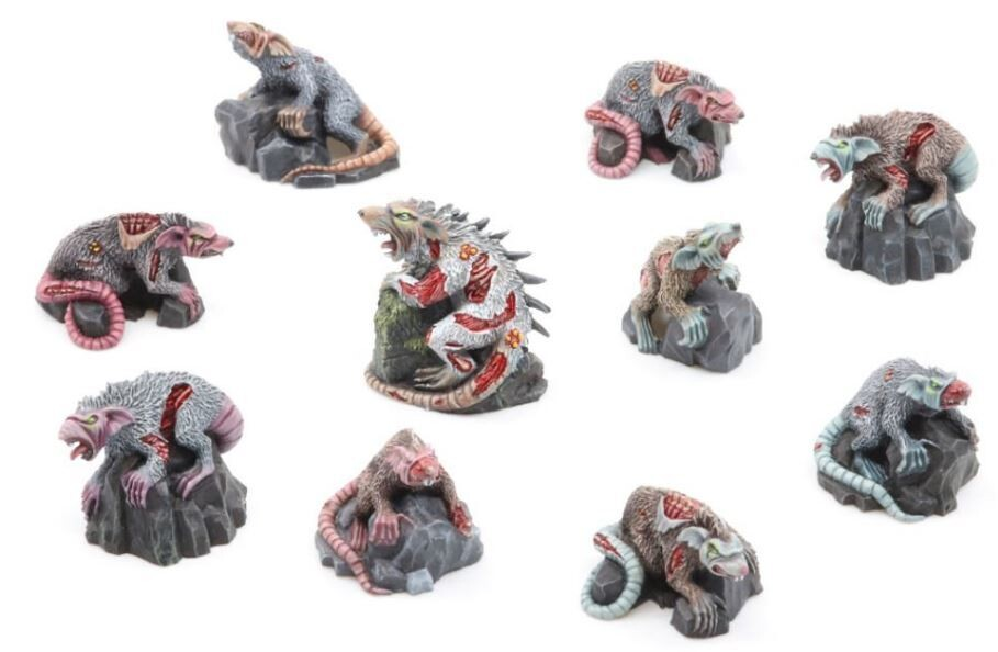Zombie Rats Pack (10) Models Miniatures Figures RPG Tabletop Roleplay Games