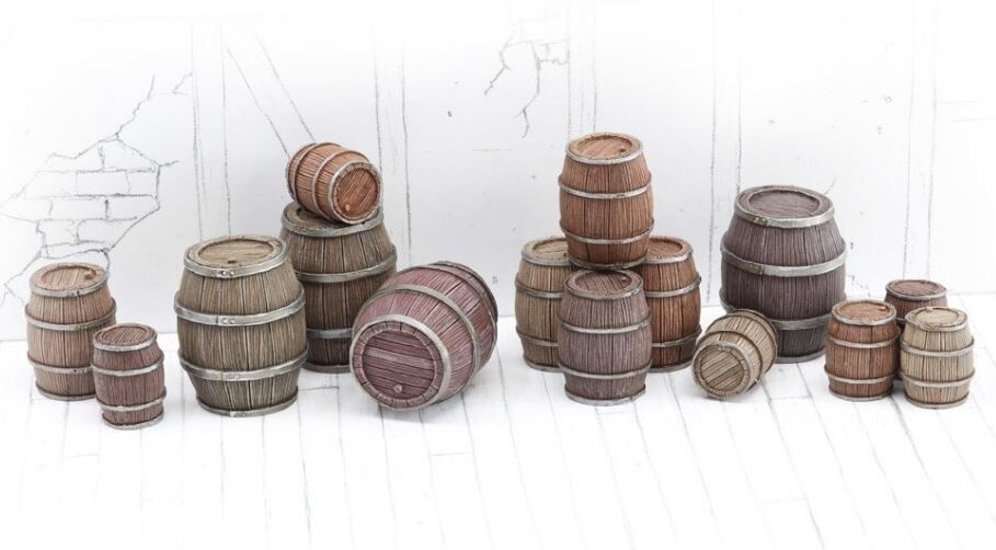 Wooden Barrels Set 4 - Mixed Sizes (15) Models Miniatures Figures RPG Tabletop Roleplay Games