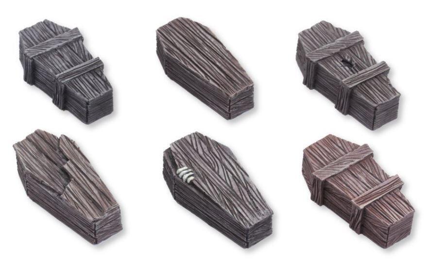 Wood Coffins - Set 2 (6) Models Miniatures Figures RPG Tabletop Roleplay Games