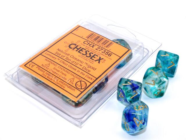 10D10 16mm Set of Ten D10 Dice - Nebula Luminary Oceanic Gold RPG Games