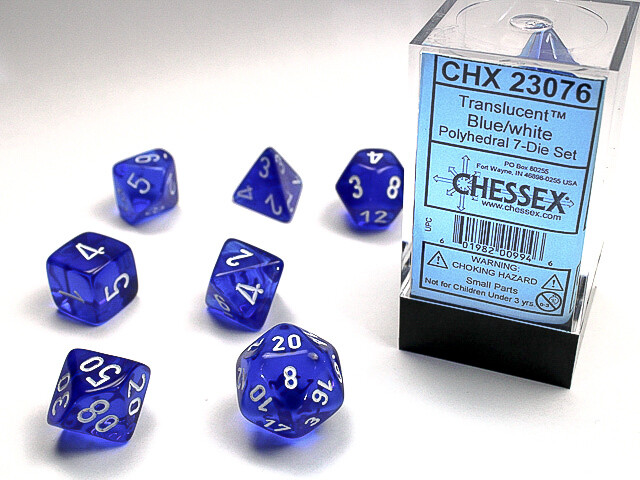 16mm 7 Die Dice Polyhedral Set - Translucent Blue with White RPG Tabletop