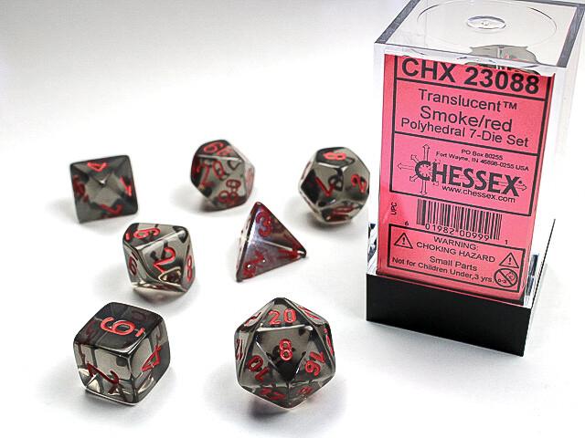 16mm 7 Die Dice Polyhedral Set - Translucent Smoke Red RPG Tabletop