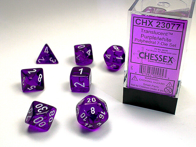 16mm 7 Die Dice Polyhedral Set - Translucent Purple with White RPG Tabletop