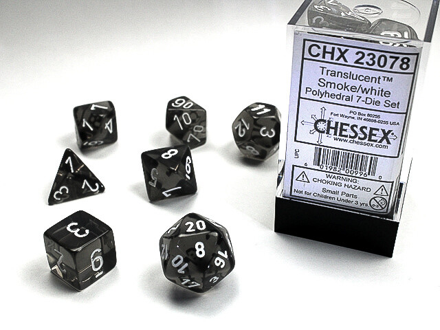 16mm 7 Die Dice Polyhedral Set - Translucent Smoke with White RPG Tabletop
