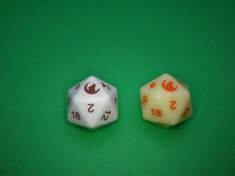 Wolf Moon 16mm D20 Die Custom - Opaque Ivory or White D20 16mm Gaming Tabletop RPG Dice Roleplay Random Roll