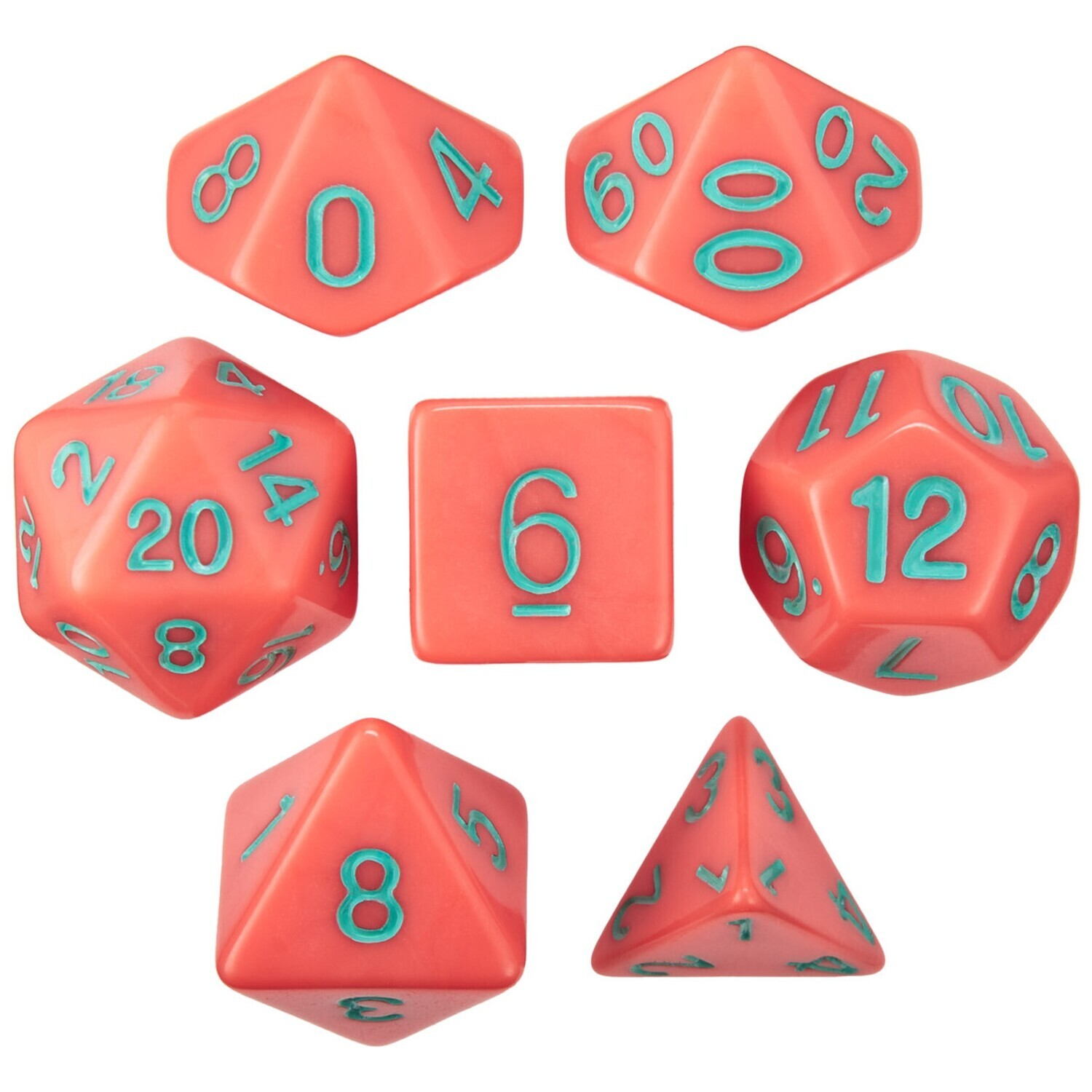 16mm 7 Die Polyhedral Set - Poisoned Apple - Solid Red With Green Paint - RPG Tabletop Games Roleplay Cards CCG Board Random Roll Decision