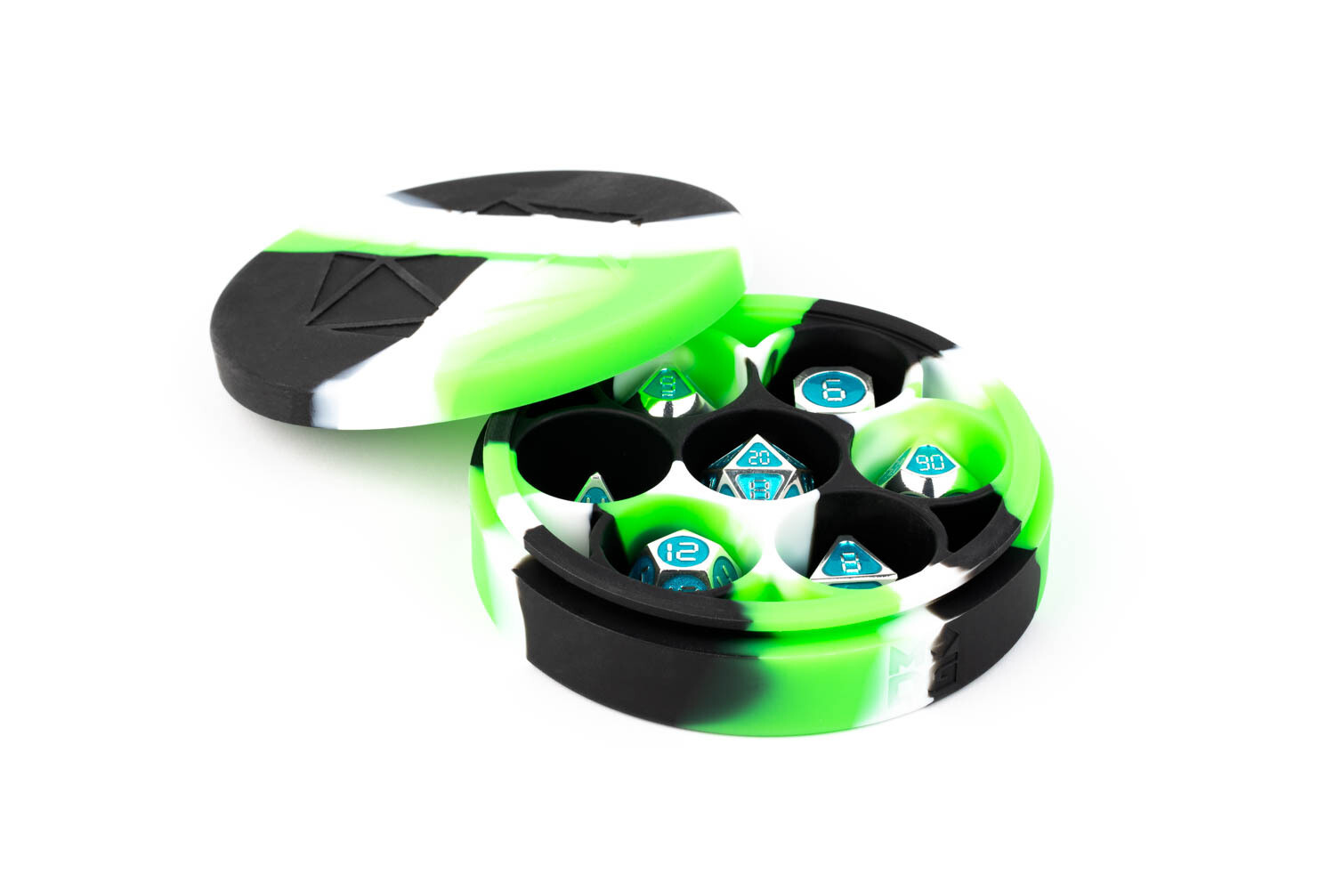 Silicone Round Dice Case Polyhedral Gaming Dice RPG Role Play Green Black White