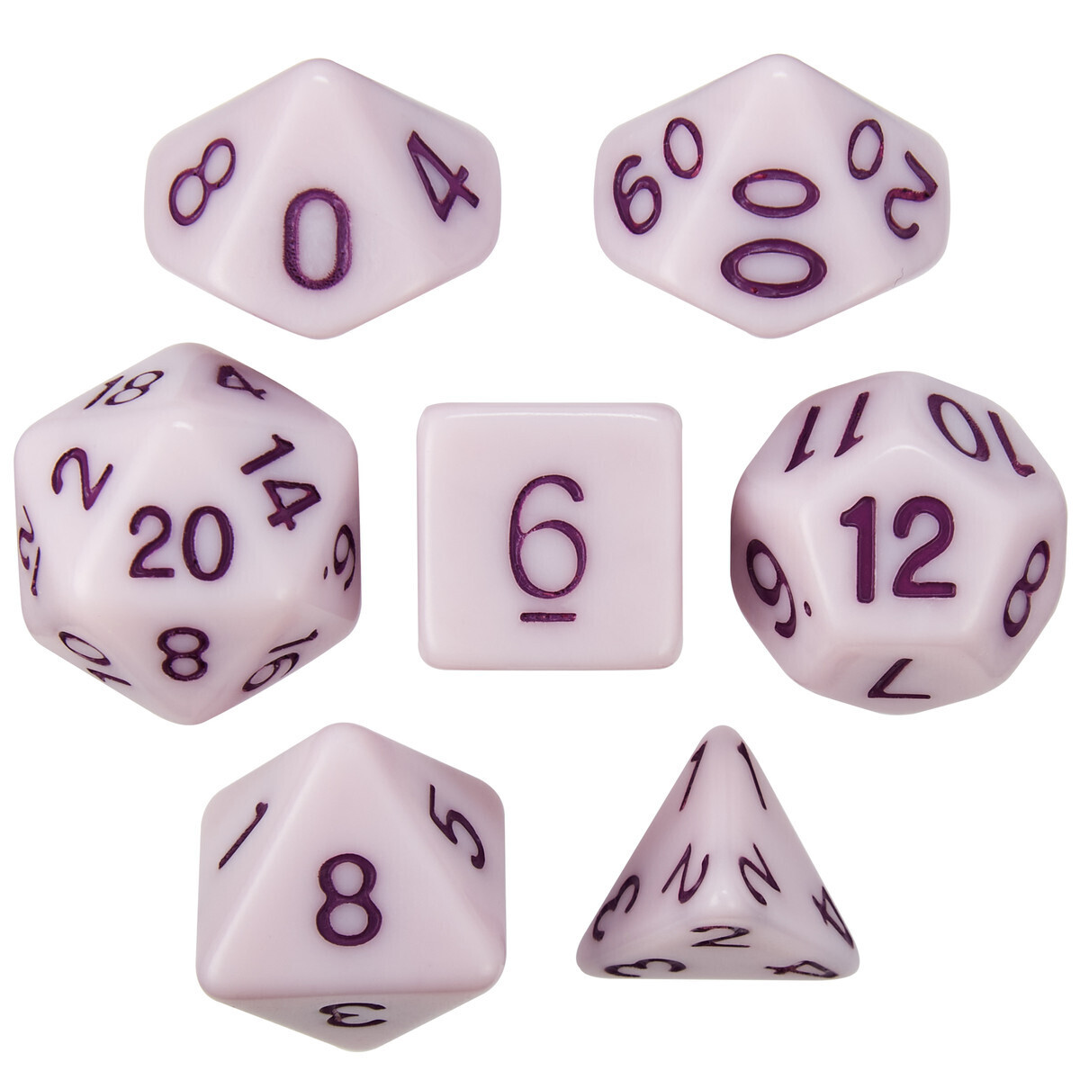 16mm 7 Die Polyhedral Set - Nightshade Extract - Solid Purple With Purple Paint - RPG Tabletop Games Roleplay Cards CCG Board Random Roll Decision