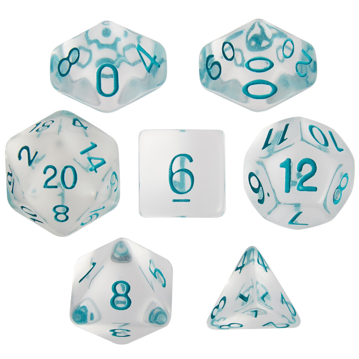 16mm 7 Die Polyhedral Set - Northwind Breeze - Clear With Blue Paint - RPG Tabletop Games Roleplay Cards CCG Board Random Roll Decision