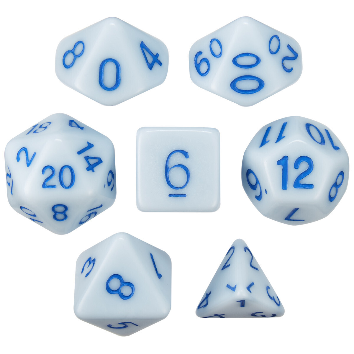 16mm 7 Die Polyhedral Set - Set Of 7 Dice - Frostbourne - Solid Blue With Blue Paint - RPG Tabletop Games Roleplay Cards CCG Board Random Roll Decision