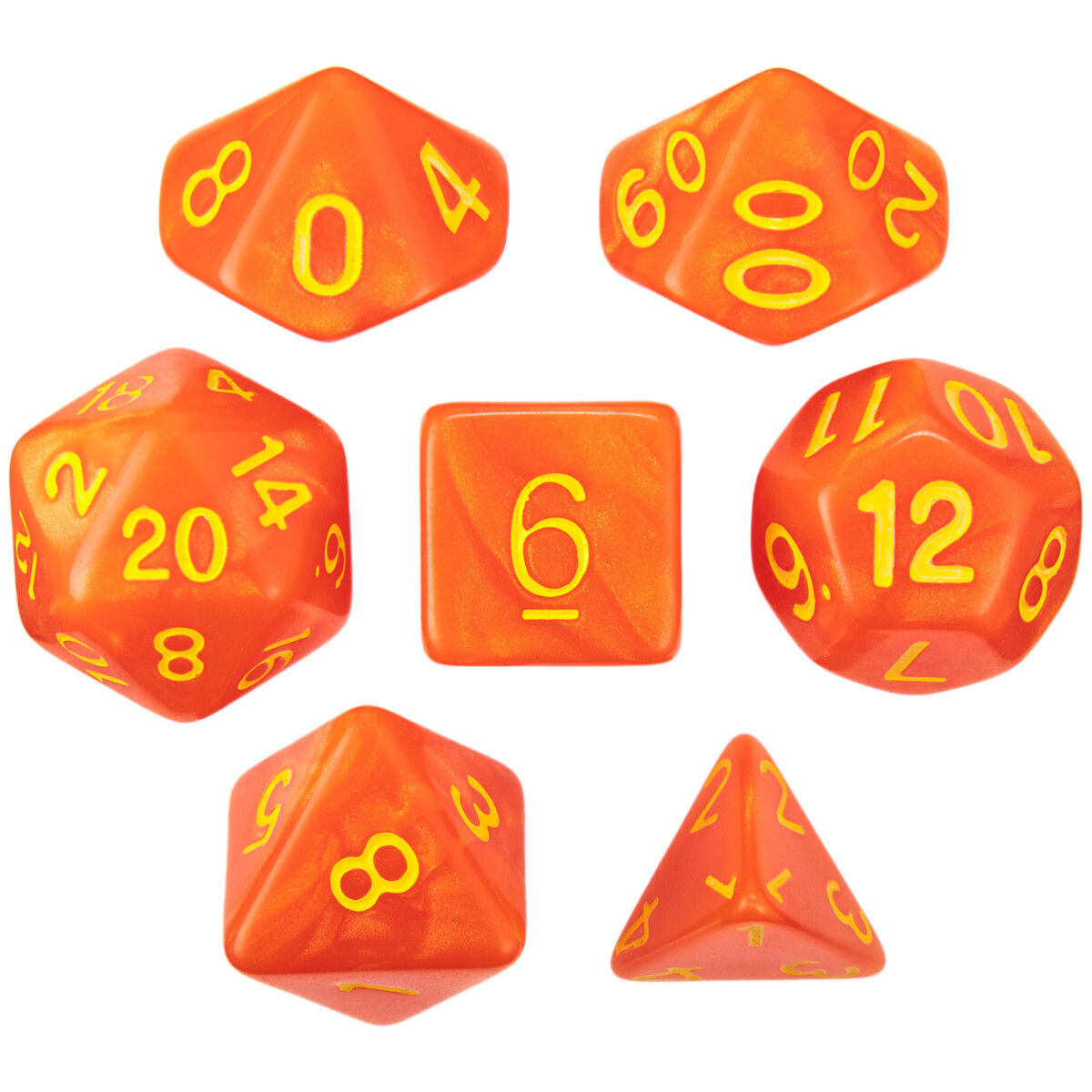 16mm 7 Die Polyhedral Set - Flamekeeper - Shimmer Orange With Yellow Paint - RPG Tabletop Games Roleplay Cards CCG Board Random Roll Decision