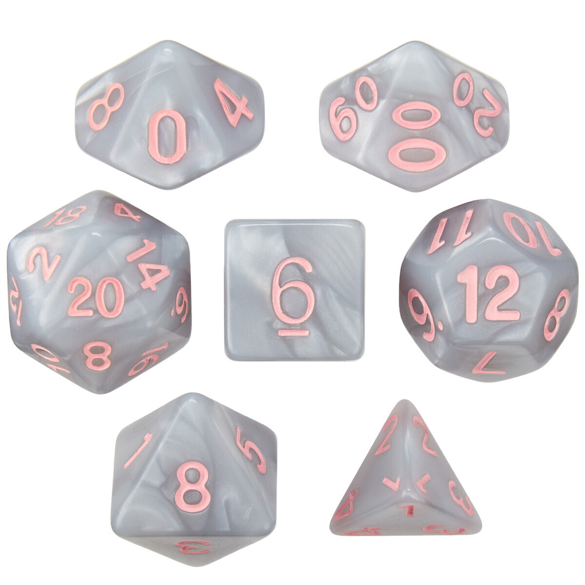 16mm 7 Die Polyhedral Set - Fairy Quartz - Pearlized Gray With Pink Paint - RPG Tabletop Games Roleplay Cards CCG Board Random Roll Decision