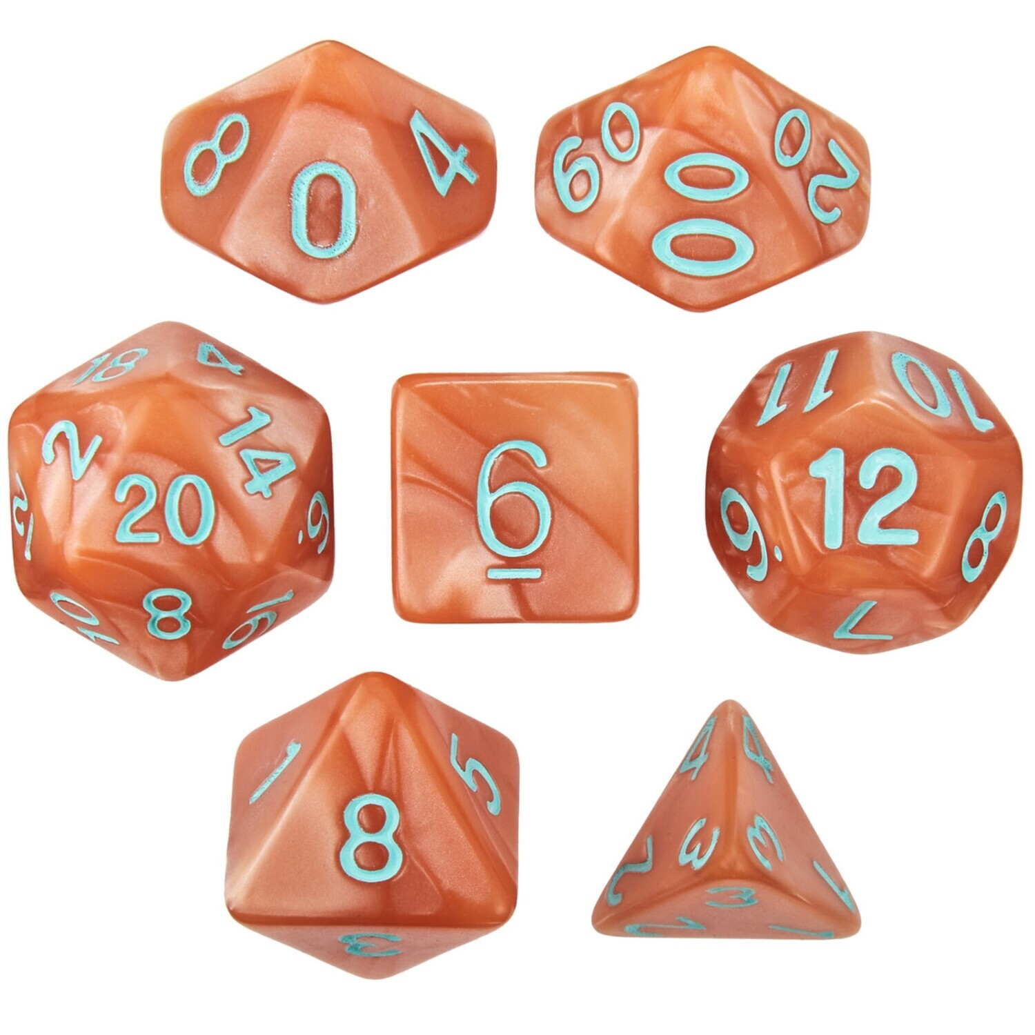 16mm 7 Die Polyhedral Set - Precursor's Legacy - Pearlized Copper With Green Paint - RPG Tabletop Games Roleplay Cards CCG Board Random Roll Decision