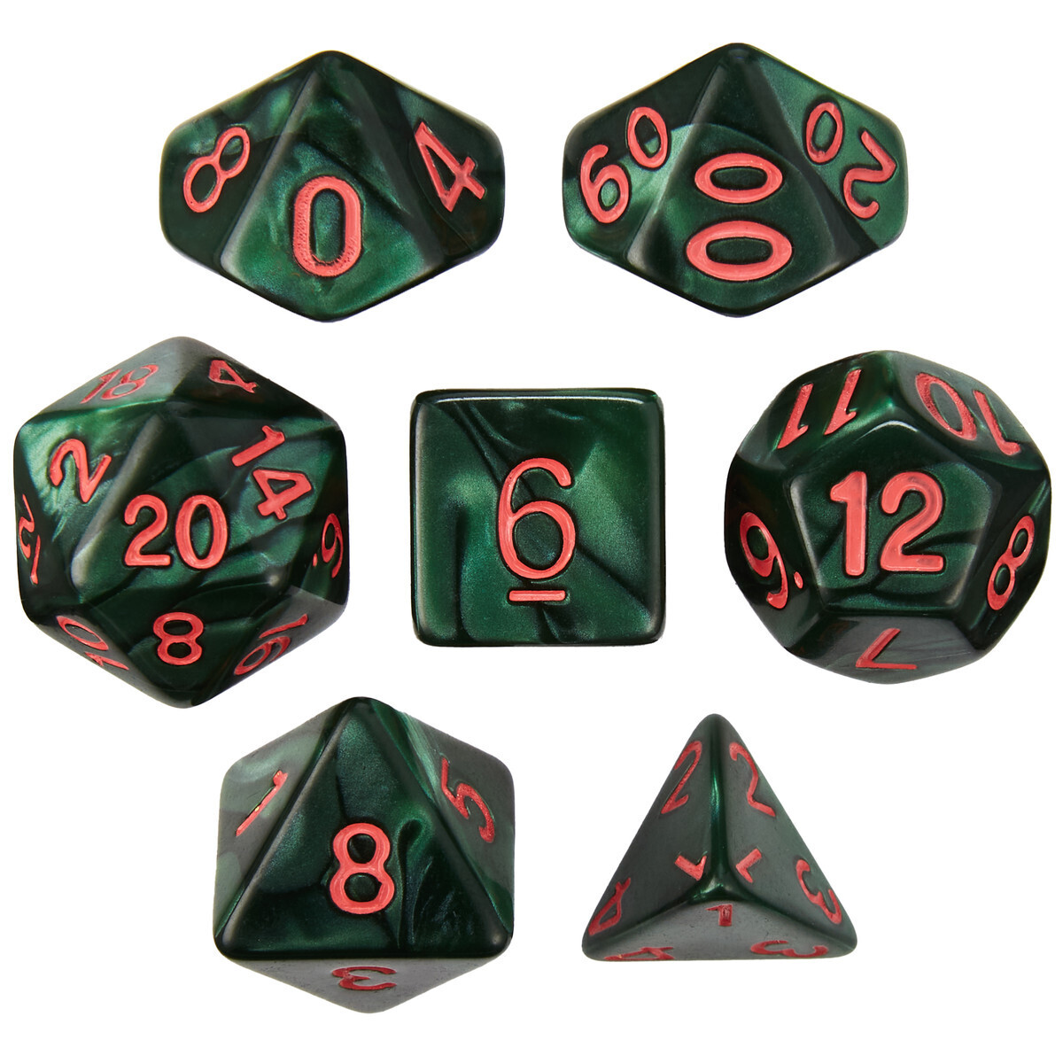 16mm 7 Die Polyhedral Set - Cinderbloom - Pearlized Green With Red Paint - RPG Tabletop Games Roleplay Cards CCG Board Random Roll Decision
