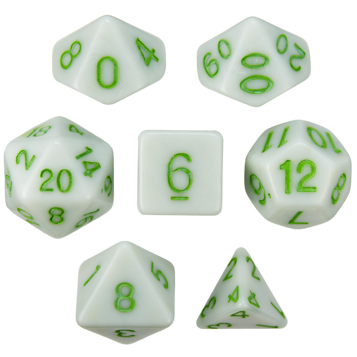 16mm 7 Die Polyhedral Set - Grave Moss - Solid Green With Green Paint - RPG Tabletop Games Roleplay Cards CCG Board Random Roll Decision