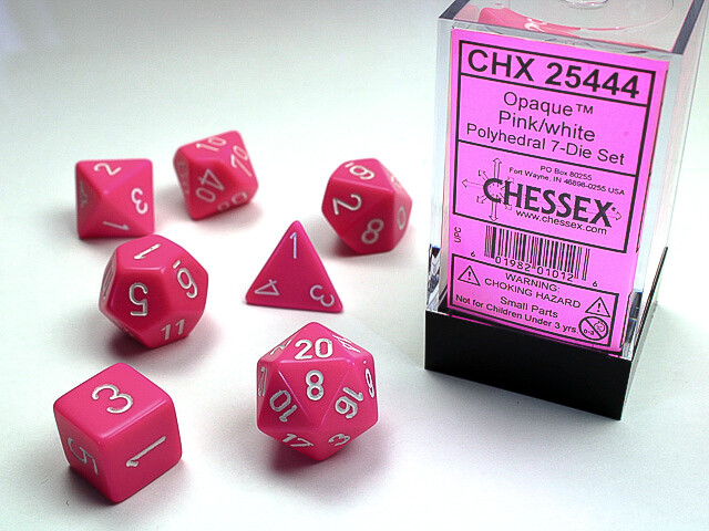 7 Die Dice Polyhedral Set - Chessex Opaque Pink with White - RPG Tabletop Games