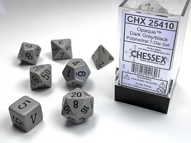 7 Die Dice Polyhedral Set - Chessex Opaque Dark Gray with Black - RPG Tabletop