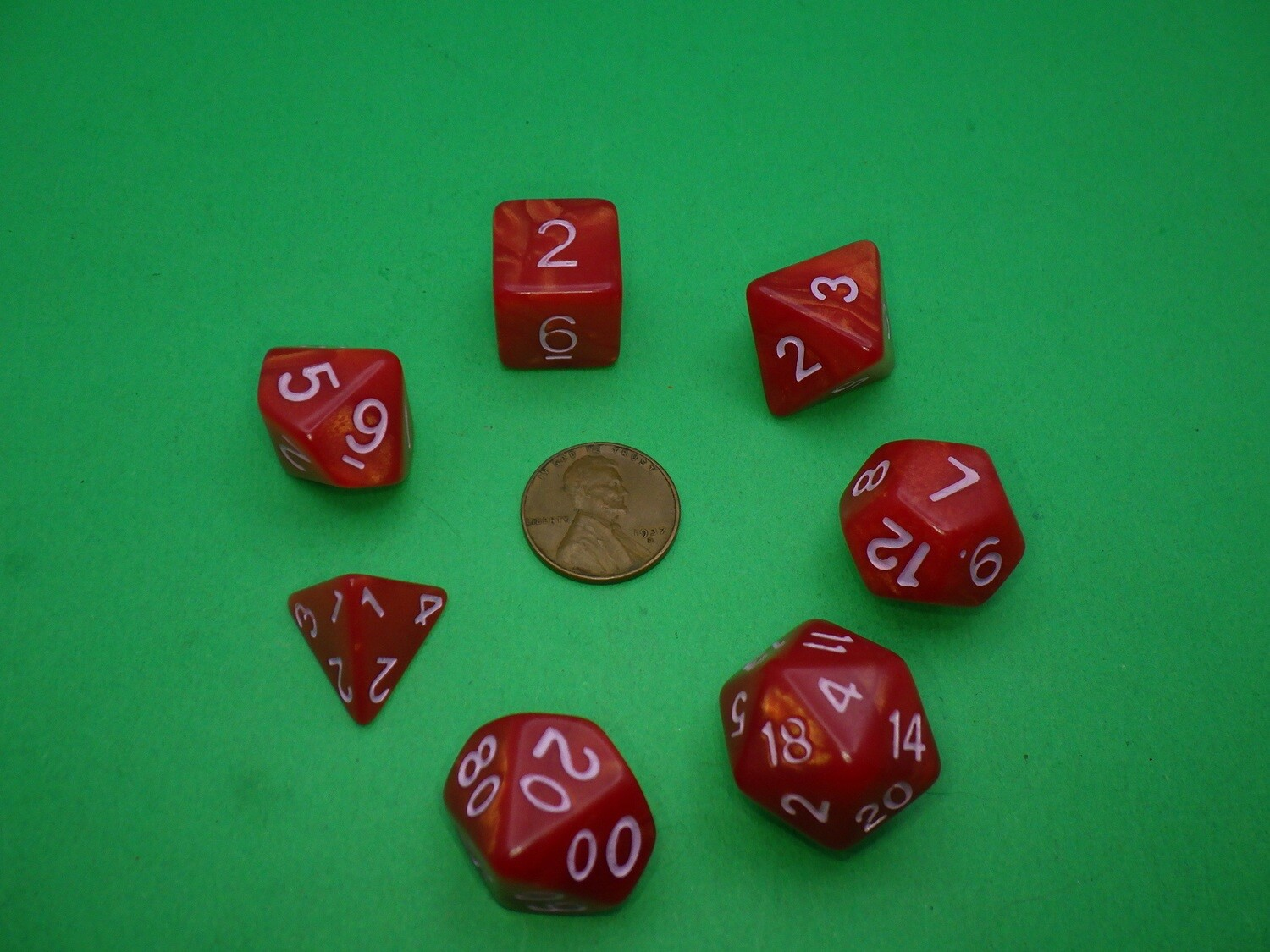 16mm 7 Die Polyhedral Set - Copper Browns with Pink Paint - RPG Tabletop Games Roleplay Cards CCG Board Random Roll Decision