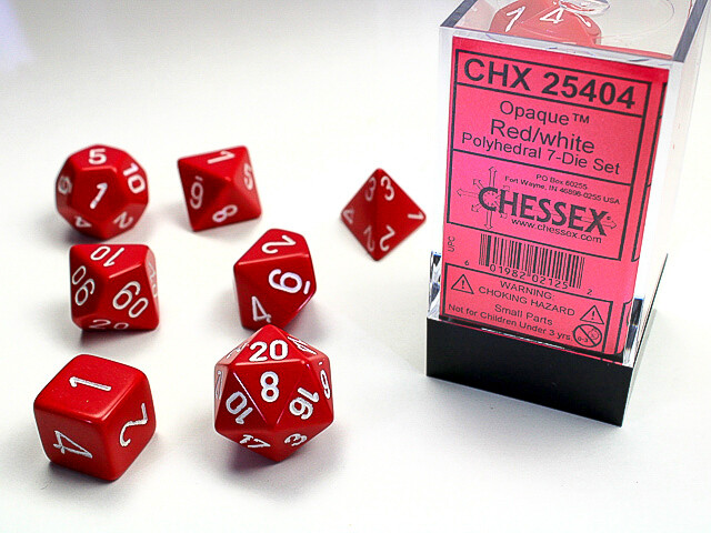 7 Die Dice Polyhedral Set - Chessex Opaque Red with White - RPG Tabletop